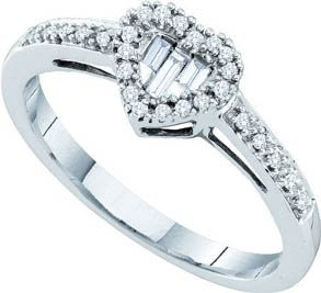 Ladies Diamond Heart Ring 14K White Gold 0.15 cts. GD-45792