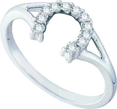 Ladies Diamond Horse Shoe Ring 10K White Gold 0.10 cts. GD-57484