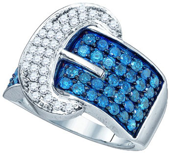 Blue Diamond Buckle Belt Band 10K White Gold 1.88 cts. GD-65664