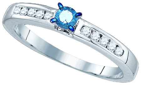 Blue Diamond Fashion Ring 10K White Gold 0.30 cts. GD-75084