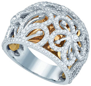 Ladies Diamond Fashion Band 10K Two Tone Gold 1.17 cts. GD-77475