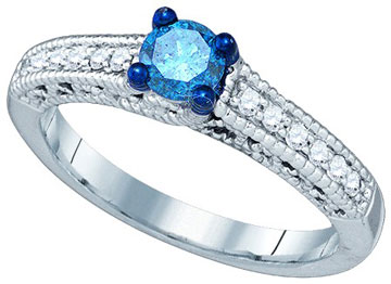 Blue Diamond Fashion Ring 10K White Gold 0.53 cts. GD-79193