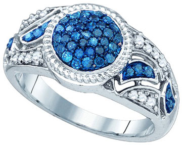Blue Diamond Fashion Ring 10K White Gold 0.50 cts. GD-81979