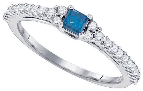 Blue Diamond Bridal Ring 10K White Gold 0.51 cts. GD-83999