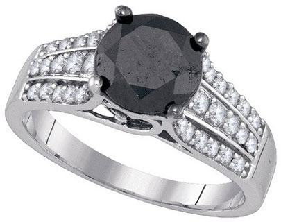 Black Diamond Bridal Ring 10K White Gold 3.50 cts. GD-85647
