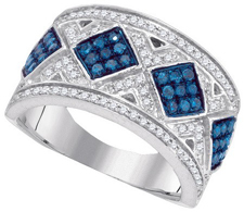 Blue Diamond Fashion Band 10K White Gold 0.65 cts. GD-87134