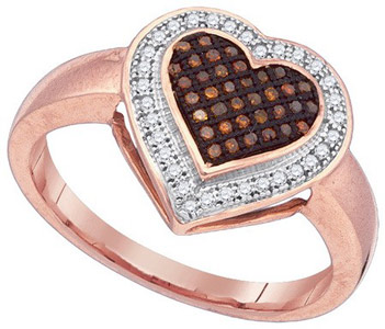 Ladies Diamond Heart Ring 10K Rose Gold 0.20 cts. GD-88364