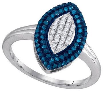 Blue Diamond Fashion Ring 10K White Gold 0.40 cts. GD-89468