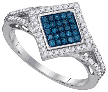 Blue Diamond Fashion Ring 10K White Gold 0.33 cts. GD-89490