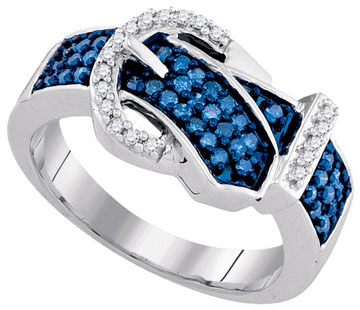 Blue Diamond Buckle Belt Ring 10K White Gold 0.50 cts. GD-90372