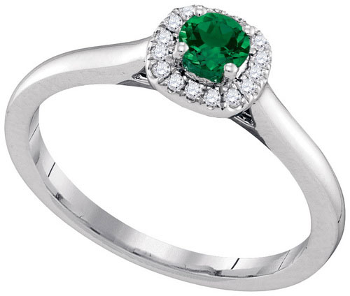 Ladies Diamond Emerald Ring 14K White Gold 0.33 cts. GD-95345