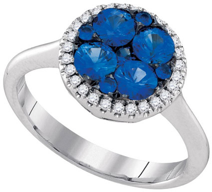 Ladies Diamond Sapphire Ring 14K White Gold 1.37 cts. GD-95402