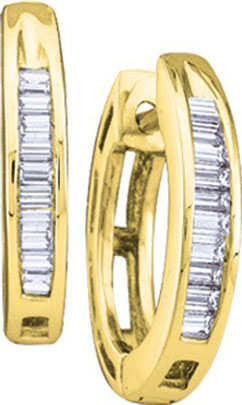 Diamond Hoop Earrings 10K Yellow Gold 0.15 cts. GD-13510