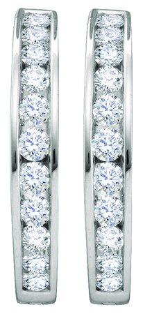 Diamond Hoop Earrings 14K White Gold 2.00 ct. GD-46604