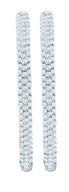 Diamond Hoop Earrings 14K White Gold 1.50 cts. GD-47722