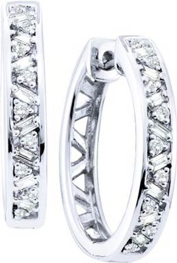 Diamond Hoop Earrings 14K White Gold 0.50 cts. GD-48428