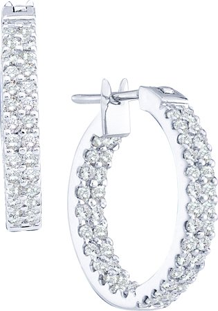 Diamond Hoop Earrings 14K White Gold 1.00 ct. GD-48766