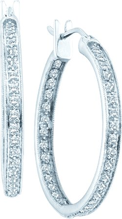Diamond Hoop Earrings 14K White Gold 1.00 ct. GD-49810