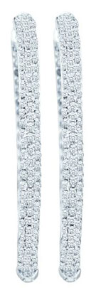Diamond Hoop Earrings 14K White Gold 2.00 ct. GD-51158