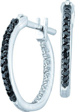 Diamond Hoop Earrings 14K White Gold 0.25 cts. GD-51617