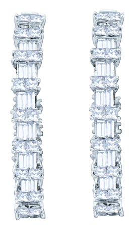 Diamond Hoop Earrings 14K White Gold 4.51 cts. GD-52949