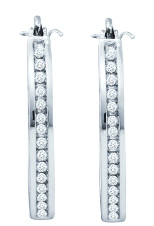 Diamond Hoop Earrings 14K White Gold 0.25 cts. GD-58708