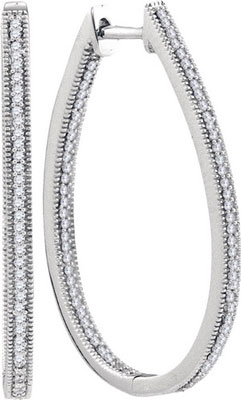 Diamond Hoop Fashion Earrings 10K White Gold 0.50 cts. GD-93503