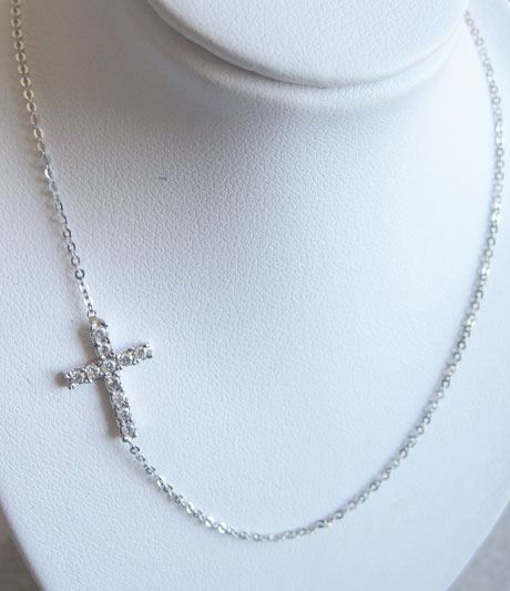 Sideways Cross Necklace Special Order 14K White Gold 0.20 cts. 6J7359