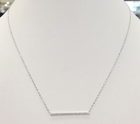Diamond Bar Necklace 14K White Gold 0.22 cts. 6J7897