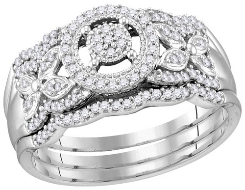Ladies Three Piece Set 10K White Gold 0.33 cts. GD-114234
