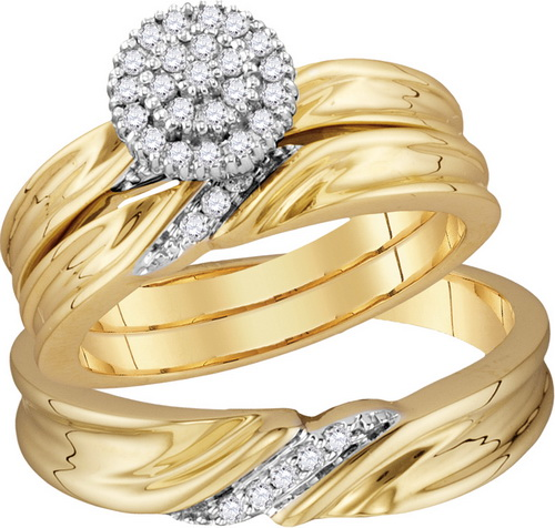 Three Piece Wedding Set 10K Yellow Gold 0.25 cts. GD-110124