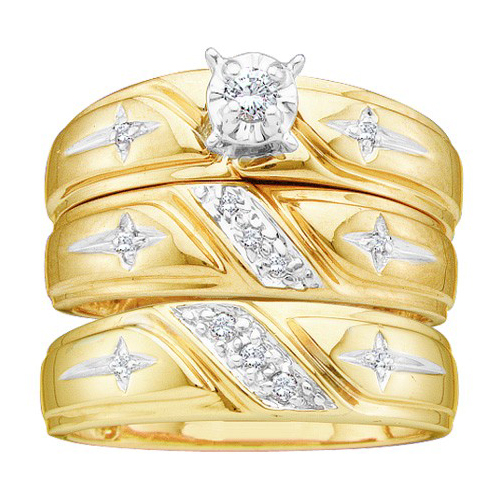 Three Piece Wedding Set 10K Yellow Gold 0.20 cts. GD-17574
