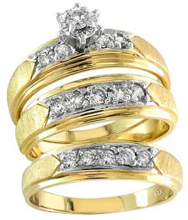 Three Piece Wedding Set 14K Two Tone Gold 0.50 cts. S20-2