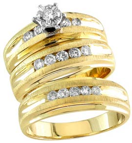 Three Piece Wedding Set 14K Yellow Gold 0.80 cts. S20-3