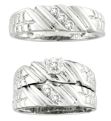Three Piece Wedding Set 10K White Gold 0.18 cts. CL-12905