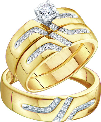 Three Piece Wedding Set 10K Yellow Gold 0.28 cts. GD-39013