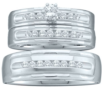 Three Piece Wedding Set 14K White Gold 0.76 cts. GD-40764