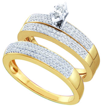 Three Piece Wedding Set 10K Two Tone Gold 0.52 cts. GD-45976