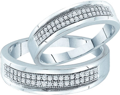 Two Piece Wedding Set 10K White Gold 0.27 cts. GD-51287