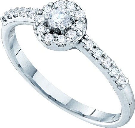 Ladies Diamond Engagement Ring 14K White Gold 0.34 cts. GD-35819