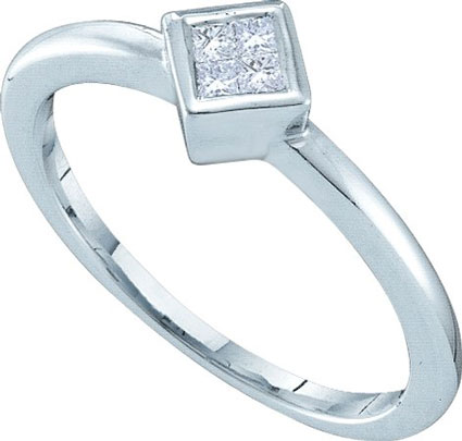 Ladies Diamond Engagement Ring 14K White Gold 0.10 cts. GD-40175