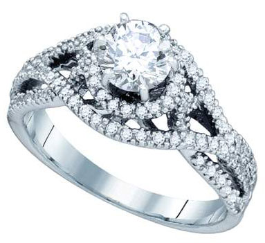 Ladies Diamond Engagement Ring 14K White Gold 0.85 cts. GD-74773