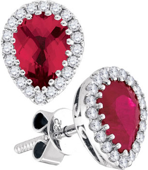 Diamond Ruby Earrings 14K White Gold 2.01 cts. GD-94720