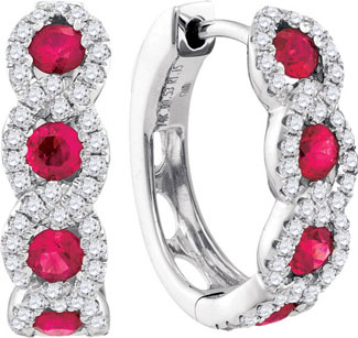 Diamond Ruby Earrings 14K White Gold 1.68 cts. GD-94723
