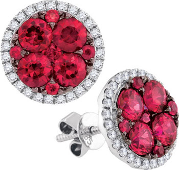 Diamond Ruby Earrings 14K White Gold 2.94 cts. GD-95454