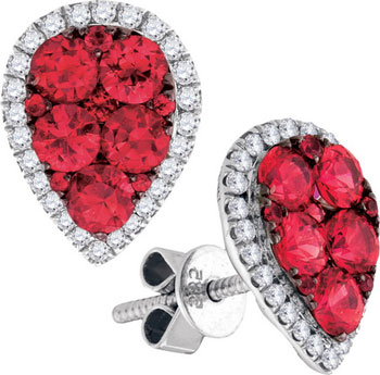 Diamond Ruby Earrings 14K White Gold 2.17 cts. GD-95464