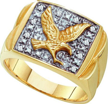 Men's Diamond Eagle Ring 10K Yellow Gold 0.10 cts. GD-17764