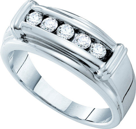Men's Diamond Ring 14K White Gold 0.48 cts. GD-39293