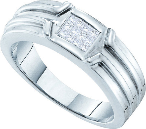 Men's Diamond Ring 14K White Gold 0.25 cts. GD-40220