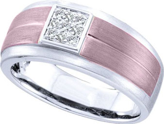 Men's Diamond Ring 14K White Gold 0.10 cts. GD-48405